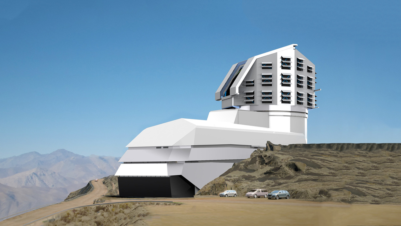 Artists rendition of the completed Vera Rubin Observatory